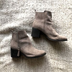 H&M Grey Suede Ankle Booties